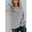 Womens Sexy Foldover Off-the-Shoulder Long Sleeve Loose Fit Casual Plain Knitted Sweater