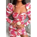 Pink Allover Floral Printed Puff-Sleeve Ruched Front Sweetheart Neck Mini Tulip Dress