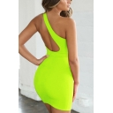 Women's Summer Fashion Solid Oblique Shoulder Cut-Out Back Mini Bodycon Dress