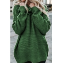 Womens Solid Color Warm High Neck Long Sleeve Oversized Casual Outdoor Tunic Pullover Sweater