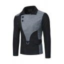 Men's Designer Cut and Sew Color Block Button Embellished Inclined Zip Split Back Slim Fit Wool Jacket