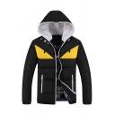 New Leisure Cartoon Eye Pattern Long Sleeve Zip Up Slim Fit Casual Hooded Puffer Jacket Coat