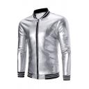 Mens Cool Metallic Color Long Sleeve Stand Collar Long Sleeve Rib Cuff Zip Up Nightclub Wear Fitted Baseball Jacket
