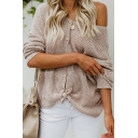 Womens Stylish Solid Color Long Sleeve Knot Front Button Up Loose Cardigan Top