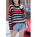 Womens Stylish Multicolor Striped Long Sleeve Classic Pullover Sweater