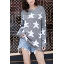 Womens Chic White Stars Printed Long Sleeve Round Neck Gray Ripped Sweater in Loose Fit