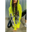 Green Reflective Lightning Printed Long Sleeve Chain Detail Super Crop Drawstring Hoodie