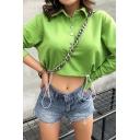 Chic Green Lapel Collar Button Front Long Sleeve Drawstring Hem Pullover Sweatshirt