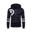 Basic Mens Animal Printed Stripe Long Sleeve Zip Up Fitted Drawstring Hoodie with Pocket
