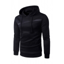 Mens Fashion Colorblock Stripe Decoration Long Sleeve Drawstring Hoodie