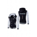 Fashionable Letter Printed Single Breasted Rib Cuffs Colorblock Long Sleeve Drawstring Hoodie