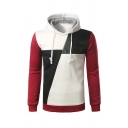 Mens Casual Contrast Long Sleeve PU Leather Splicing Regular Fit Drawstring Pullover Hoodie