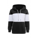 Mens Classic Two-Tone Stripe Long Sleeve Loose Drawstring Pullover Hoodie