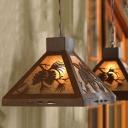 Dark Rust Pyramid Pendant Ceiling Light Vintage 1 Head Metal Hanging Fixture for Indoor
