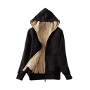 Winter Fashionable Sherpa Lined Long Sleeve Zipper Regular Fit Plain Coat with Kangaroo Pocket