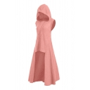 Womens Fashionable Solid Color Sleeveless High Low Hem Maxi Hooded Dress