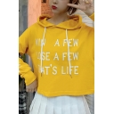 Popular Letter WIN A FEW LOSE A FEW THAT'S LIFE Printed Long Sleeve Crop Drawstring Hoodie