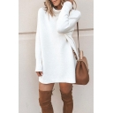 Womens Winter Stylish Solid Color Roll Neck Long Sleeve Longline Loose Midi Daily Dress