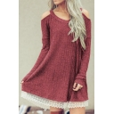 Womens Stylish Plain V Neck Cold Shoulder Long Sleeve Lace Trim Casual Loose Mini Dress