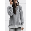 Simple Plain Round Neck Long Sleeve Side Split Button Embellished Casual Pullover Sweatshirt
