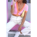 Womens Fashion Short Sleeve Contrast Trim Button Down Cropped Chunky Cardigan Top