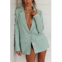 Ladies Simple Plain Notched Lapel Long Sleeve Double Button Loose Fit Casual Blazer