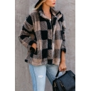 Winter Fashion Color Blocked Plaid Stand Collar Long Sleeve Button Fly Khaki Loose Fuzzy Coat Jacket