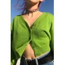 Womens Plain Long Sleeve Button Down Loose Knitted Rabbit Fur Crop Cardigan Leisure Coat
