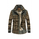 Mens Fashion Plaid Panel Stand Collar Long Sleeve Snap Button Front Sherpa Lined Thick Shirt Jacket Coat