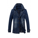 Mens Stylish Notched Lapel Long Sleeve Button Front Longline Fitted Denim Jacket Trench Coat with Pocket