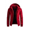 Mens Simple Plain Long Sleeve Concealed Zip Placket Casual Hooded Jacket Coat with Flap Pocket