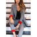 Womens Classic Grey Notched Collar Contrast Cuffed Sleeve Double Breasted Plaid Blazer & Pants Set