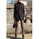 Ladies Stylish Black Pinstripe Peak Collar Double Breasted Zipper Decoration Belted Blazer Dress