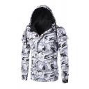 New Camouflage Printed Concealed Zip Closure With Press-Stud Placket Long Sleeve Slim Fit Hooded Jacket Coat