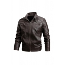 Men's Basic Stand Collar Long Sleeve Zip Up Coffee PU Leather Biker Jacket