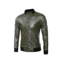 Mens Simple PU Leather Stand Collar Long Sleeve Slim Fit Full Zip Baseball Jacket