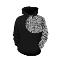 Unisex Retro Black and White Floral Animal Pattern Long Sleeve Cool Drawstring Hoodie