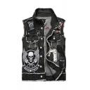 Punk Style Black LIVE TO RIDE Letter Skull Printed Sleeveless Raw Edges Ripped Slim Fit Denim Jacket Vest