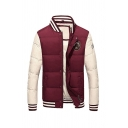 Mens Popular Colorblock Long Sleeve Rib Cuff Single Breasted Regular Padded Baseball Jacket Short Down Coat