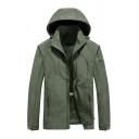 Mens Casual Plain Detachable Hood Army Green Long Sleeve Zip Up Sportswear Windbreaker Jacket