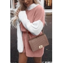 Womens Elegant Two Tone Patchwork Long Sleeve Mock Neck Knitwear Pullover Sweater Dress