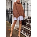 Womens Simple Plain Brown Turtle Neck Long Sleeve Oversized Loose Chunky Knit Pullover Sweater