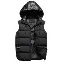 Winter Popular Sleeveless Zip Up Color Block Hooded Puffer Vest Coat
