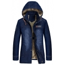 Mens Dark Blue Long Sleeve Zip Closure Longline Thick Denim Jacket Hooded Coat with Pocket