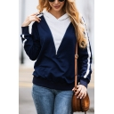 Womens Casual Colorblock Zipper Embellished Striped Long Sleeve Sports Pullover Hoodie