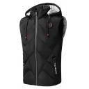 Mens Sportive Plain Black Sleeveless Zip Up Slim Fit Drawstring Hood Casual Puffer Vest