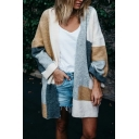 Womens Trendy Geometric Stitching Color Long Sleeve Open Front Tunic Knitted Cardigan