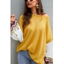 Womens Chic Color Block Patterned Patch Long Sleeve Waffle Knitted Oversized Sweater Top