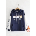 Girls Chic Japanese Letter Cats Printed Lace Up Single Sleeve Thick Oversized Hoodie