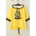 Womens Cute Lion Printed Short Sleeve Contrast Trim High Low Hem Yellow Hooded T-Shirt